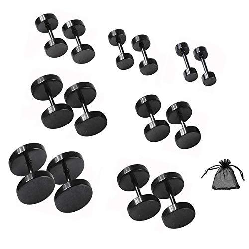 SwirlColor Pendiente Hombre, Mujer Hombre Pendientes de Botón Negro, 7 Pares 4 mm-10 mm de Acero Inoxidable Tornillo Redondo Barbell Pendientes - Negro