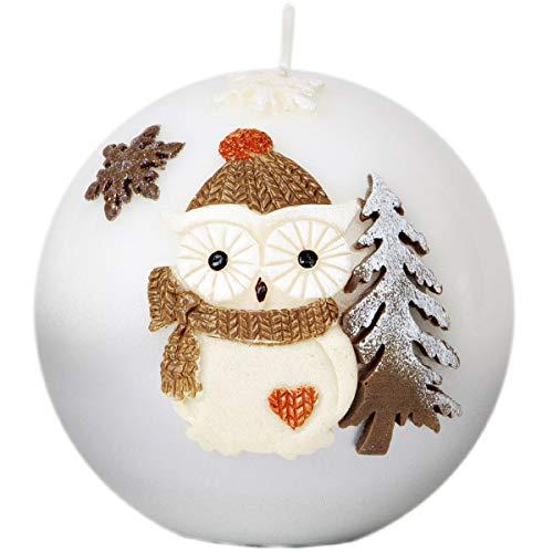 Adpal Kerzenmanufaktur Kugelkerze Weihnachtskerze 10 cm Eulenmotiv Mütze Silber weiß Weihnachten Kerze