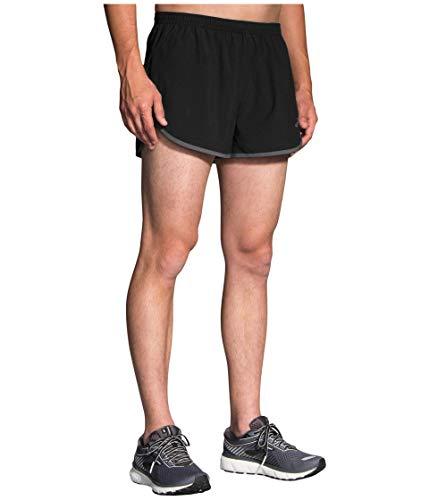 Brooks Men's Hightail 3' Split Short, Black/Asphalt, MD 3