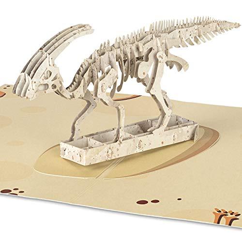 """PaperCrush® Pop-Up Karte Dinosaurier """"Parasaurolophus"""" [NEU!] - Kinder Geburtstagskarte für Jungen, Dino Glückwunschkarte als Mitgebsel zum Kindergeburtstag (z.B. 3 Jahre), 3D Kindergeburtstagskarte"""