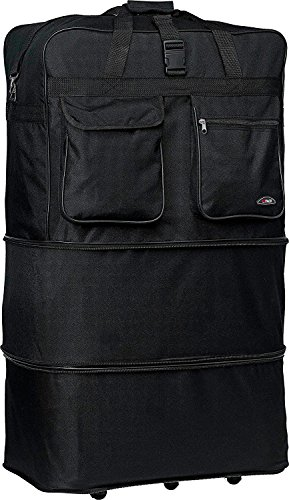 """36"""" Rolling Wheeled Duffle Bag Spinner Suitcase Luggage Expandable (36 Inch, Black) New Mexico"""