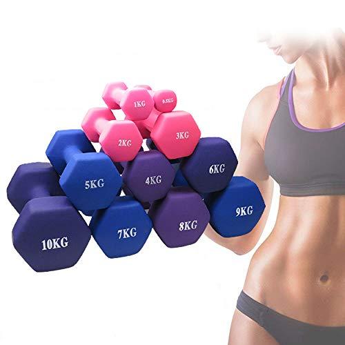 YTFAIFEN Juego de mancuernas y pesas para mujeres y niños, juego de mancuernas de mano, brazo y ejercicio ajustable 2/4/5/6/7/8 kg, 0,5-10 kg, un par (5 kg x 2)