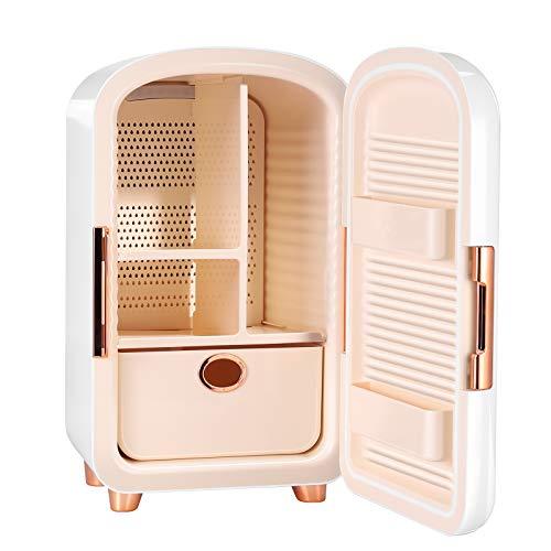 KOSIEJINN Mini Frigorifero 12l Frigo Cosmetico Portatile Compatto Per Dormitori Per Studenti e Camere Da Letto Frigorifero Di Bellezza Con Cassetti Rimovibili Per Cosmetici (White)