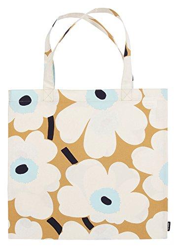 Marimekko - Tasche, Einkautstasche, Shopper- Pieni Unikko - Beige-Off-White-Blau - Baumwolle - 44 x 43 cm