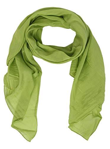 Zwillingsherz Seiden-Tuch für Damen Mädchen Uni Elegantes Accessoire/Baumwolle/Seiden-Schal/Halstuch/Schulter-Tuch oder Umschlagstuch einsetzbar - grü