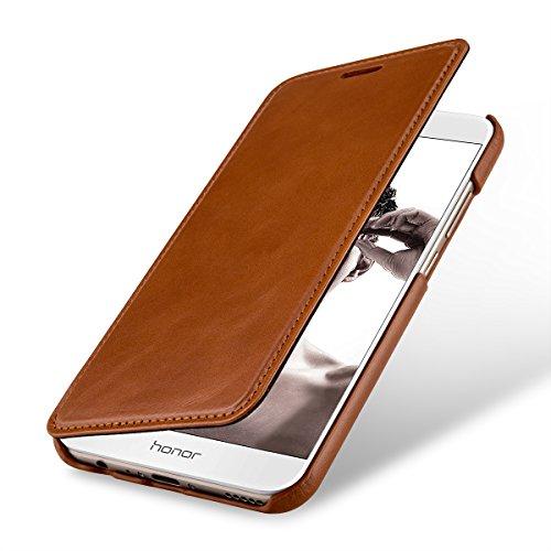 StilGut Leder-Hülle kompatibel mit Huawei Honor 8 Pro Book Type, Cognac