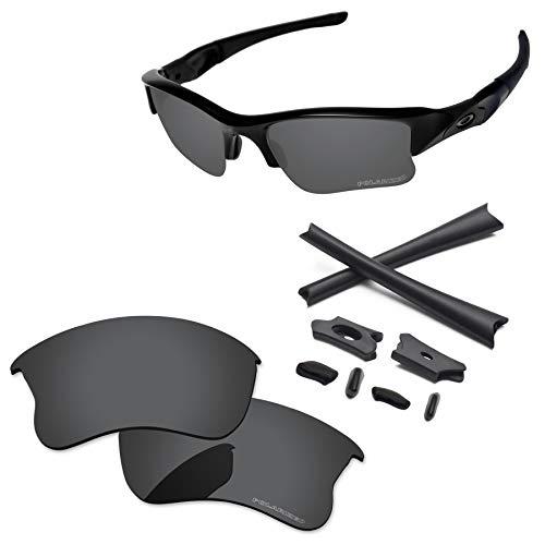 PapaViva Lenses Replacement & Rubber Kits for Oakley Flak Jacket XLJ Black Grey - Polarized