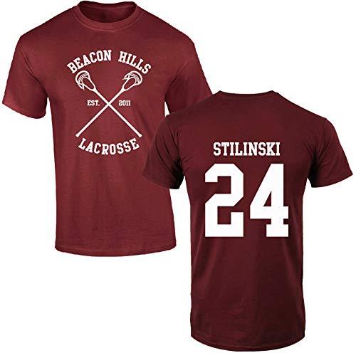 mimoma T-Shirt Maglia Maglietta della Squadra Lacrosse Beacon Hills (24 Stilinski, 14 Lahey, 11 McCall) (S, Stilinski 24)