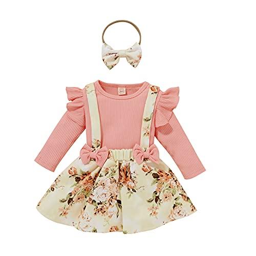 Bawo Conjunto de ropa de manga larga con volantes, top de flores, tirantes, falda y cinta para la cabeza, 3 unidades, Rosa., 12-18 Meses