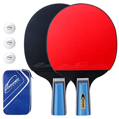 EXTSUD Tischtennis Schläger Set, 2 Tischtennisschläger mit 3 Tischtennis-Bälle und 1 Tasche Ping-Pong-Set Trainings Perfekt für Anfänger, Familien und Profis