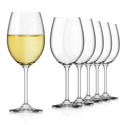 SAHM Weißweingläser 6er Set | 450 ml Weingläser Weisswein | Spülmaschinengeeignete Weissweingläser | Langlebiges Weingläser Set Weisswein