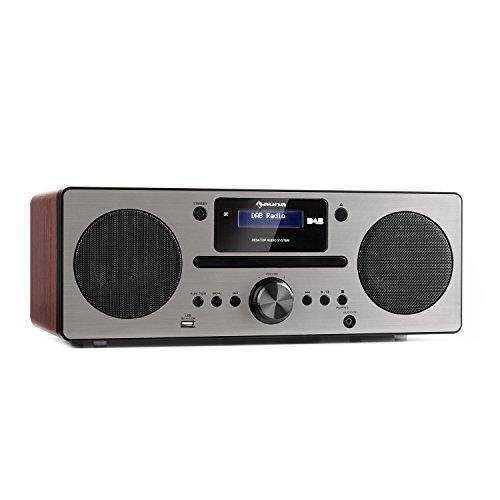 AUNA Harvard Equipo de música - Reproductor de CD - Receptor Dab/Dab+ - FM - Bluetooth - USB - AUX - Memoria 80 emisoras - Función RDS - Mando Distancia - Despertador - Nogal