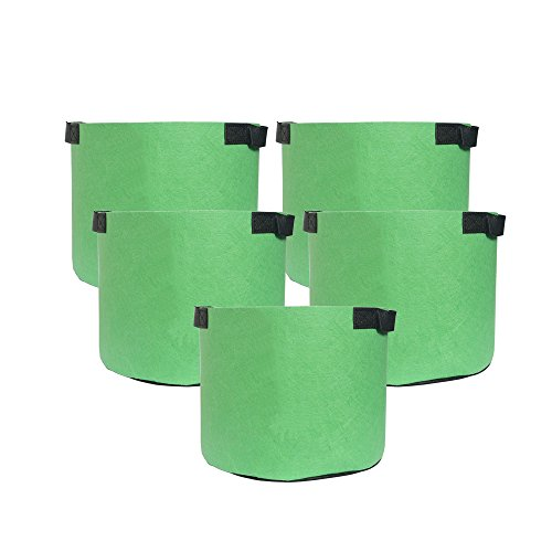 HONGVILLE 5-Pack Grow Bags/Aeration Fabric Pots w/Handles All Green Color