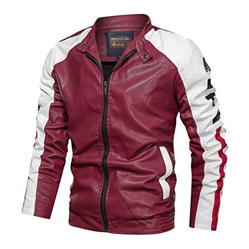 GUOCU Chaquetas de Cuero Hombres Chaquetas Moto Biker Invierno Suave Chaqueta de Motorista de Cuero Coat Capa Abrigo Jacket Cazadora Rojo L