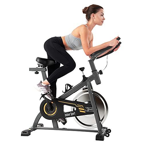Gona Bicicleta estática de fitness con volante de inercia de 10 kg, pantalla LCD, cómodo cojín de asiento, asiento y mango ajustables, para el hogar (amarillo)