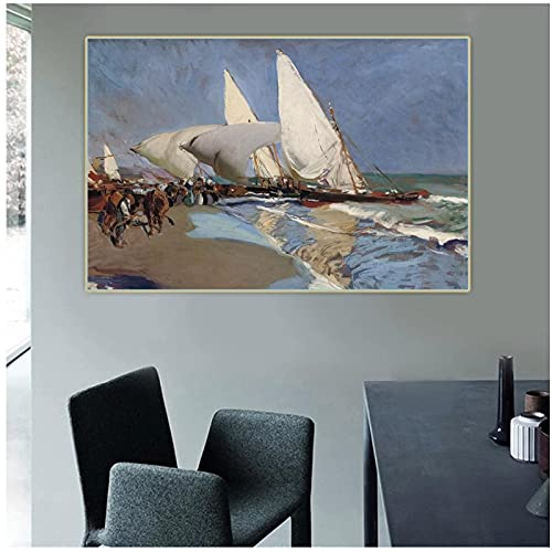 IUYBHRYI Playa de Valencia, 1908, Pinturas Impresas en HD, Imagen, Arte de Pared, Lienzo Modular, póster, habitación Moderna, decoración del hogar, 50x75cm sin Marco