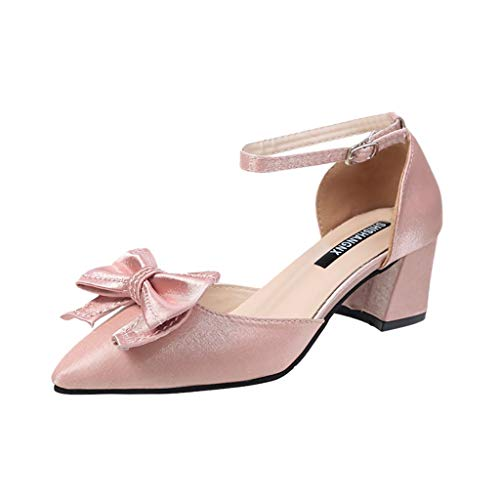 Damen Spitz Pumps Knöchelriemen Mittelhohem Blockabsatz, Elegante Schuhe Komfort Bequem Spangenpumps Frühling Sommer Sandalen Celucke