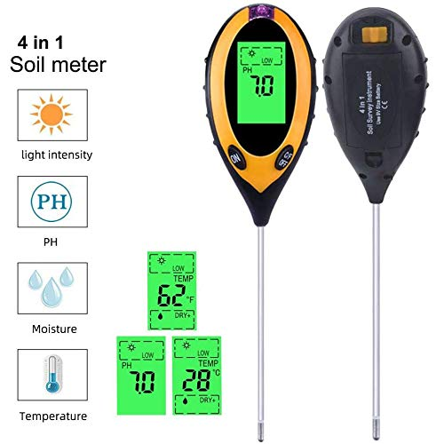 Best Bargain Soil Testers 4-in-1 Meter with Moisture Light and PH Tests for Garden Farm Lawn Indoors...