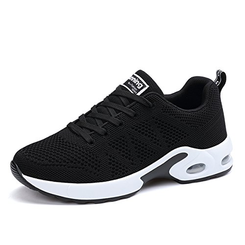 JARLIF Women's Breathable Fashion Walking Sneakers Lightweight Athletic Tennis Running Shoes (5.5 B(M), Black)
