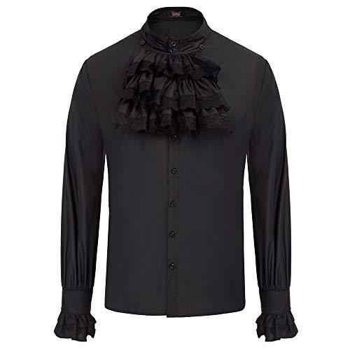 SCARLET DARKNESS Hemd Herren Steampunk Gothic StehkragenVintage Slim mit Krawatten Langarmhemd Neckwear Schwarz L