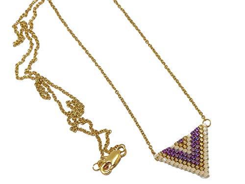 Collana perle giapponesi viola oro beige triangolo tessitura a catena chevron catena in acciaio inox regali personalizzati Natale amici compleanno matrimonio cerimonia di nozze madre coppie