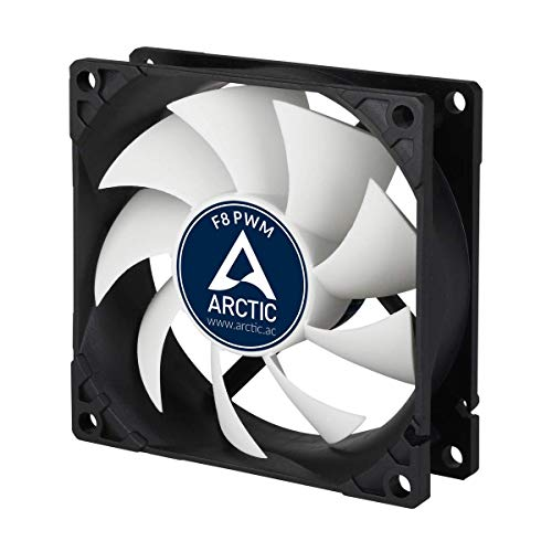 ARCTIC F8 PWM - 80 mm PWM Case Fan, PWM-Signal regulates Fan Speed, Very Quiet Motor, Computer, Fan Speed: 300-2000 RPM - Black/White