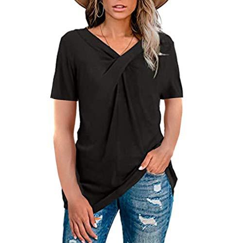 Camisetas de Manga Corta con Cuello en V Tops Blusa de túnica Informal de Verano Blusa para Mujer (Negro XXL)
