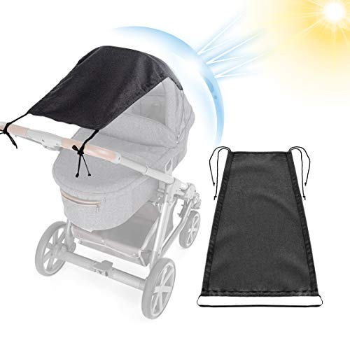 O-Kinee Universal Sonnensegel für Kinderwagen Sportwagen Sonnenschutz mit UV Schutz 50+ Beschichtung, Verstellbar, Biegsam, Rollofunktion - Farbe: Schwarz