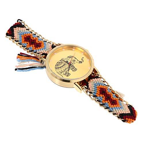 Hemobllo Reloj bohemio con pulsera de elefante, étnico, tejido trenzado, para hombres y mujeres, reloj de pulsera