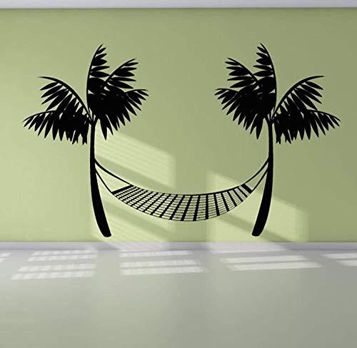 Etiqueta de la pared vinilo duradero negro impreso playa hamaca etiqueta de la pared palmera decoración del hogar 92 * 59 cm