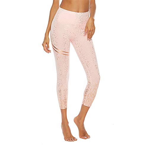 SotRong Damen leuchtende Gym Leggings Hohe Taille Yogahosen Knöchellange undurchsichtige Laufgamaschen Strumpfhose Rosa M