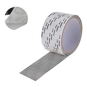 EasyULT Cinta para Reparar mosquiteras Fibra de Vidrio Cinta Adhesiva para Evitar Insectos de Mosquitos,con Sellado Adhesivo Fuerte(5 cm x 200 cm,Gris)