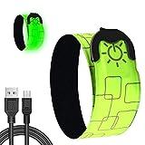 MOCOLI Pulseras LED, Pulsera LED USB Recargable para para Correr, Bicicleta, Hacer Ejercicio y Actividades al Aire Libre con 3 Modos de Brillo (Batería Recargable incluida)