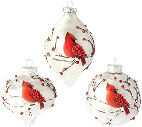 RAZ Imports 3 Cardinal Bird Glass Christmas Tree Ornaments Set Of 3