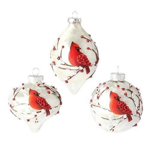 RAZ Imports - 3' Cardinal Bird Glass Christmas Tree Ornaments - Set of 3