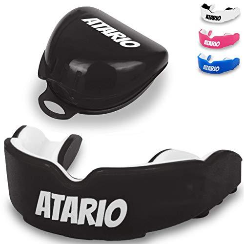 ATARIO® Mundschutz mit perfektem Halt [inkl. Transportbox]– Zahnschutz Kampfsport [BPA-frei] für maximale Leistung beim Sport – Mundschutz Boxen, MMA & Football für Erwachsene und Kinder (Schwarz)