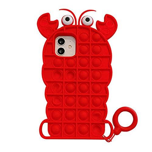 DNZJHHM Silicona Sensorial Fidget Juguete, Push and Pop Bubble Sensory Toy Creatividad Carcasa, Adecuada para iPhone 5 SE 6 6s 7 7 Plus X XR XS 11 Pro MAX