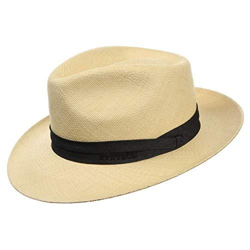 Stetson Chapeau Jenkins Panama Homme - Made in Ecuador en Paille Chapeaux de Soleil avec Ruban Gros Grain Printemps-ete - 55 cm Nature