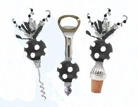Suki Set de 3 pièces Noir &Blanc Polka Dot-Tire-bouchon-Décapsuleur &