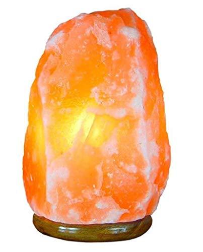 Lampe en Cristal de Sel de l'Himalaya (2-3 kg) Entièrement naturelle et fabriquée à la main avec base en bois