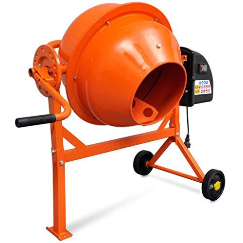 Lechnical Betonmischer Elektrisch Mörtelmischer Zementmischer Betonmischmaschine 63 L 220 W Stahl Orange