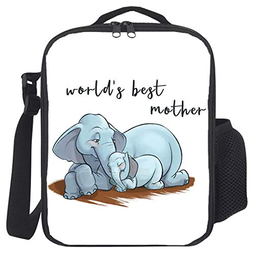 Insulated Lunch Bag, Prep Meal Box for Kids Teens Adults | Leakproof Lunch Pail Cooler Bag with Shoulder Strap for Work/School/Picnic, World's Best Mother with Cute Elephant Pattern