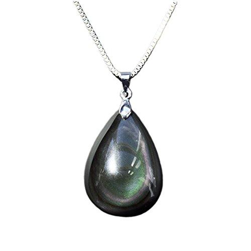 Collar con colgante de recuerdo en forma de lágrima, fabricado con una gema natural y auténtica, cadena de aleación de metal de 45,7 cm