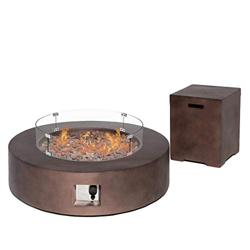 HOMPUS Propane 42-inch Round Bronze Concrete Fire Table with Tank Cover Wind Guard, Lava Rocks and Rain Cover, 50,000 BTU Patio Fire Pit Table Set for Outdoor
