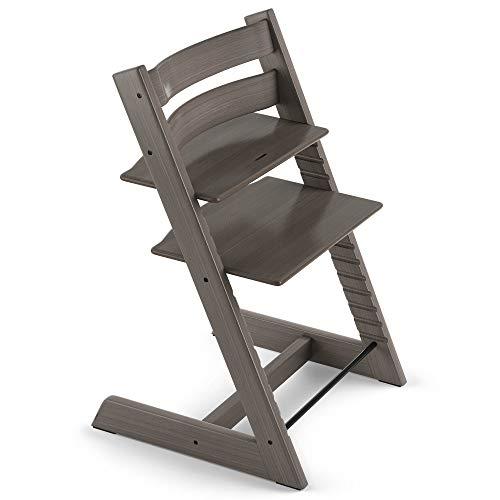 TRIPP TRAPP® Silla evolutiva de madera | Silla de altura regulable perfecta para bebés, niños y adultos | Tipo de madera: Beech | Colour: Gris Bruma