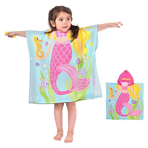 Badeponcho Kapuzenhandtuch Kinder Musselin Baumwolle Badetuch Bademantel Strandtuch Schwimmen für Mädchen Jungs Baby Bio Weich Warm Natur Hypoallergen (Meerjungfrau 120x60cm)