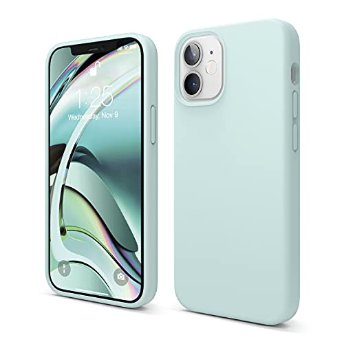 elago Silicona Líquida Funda Compatible con iPhone 12 Mini Case (5.4'), Silicona Premium, Protección Funda Protectora 3 Tapas Estructura (Verde Menta)