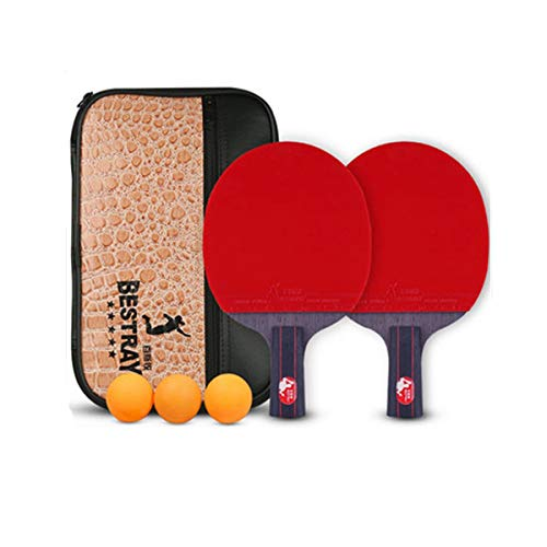 Affordable HUIJUNWENTI Table Tennis Racket, Genuine Double-Sided Anti-Adhesive Racket, Red and Black...
