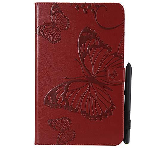 Capa para tablet XYX para Galaxy Tab A 10.1, [Borboleta 3D] Capa carteira de couro PU flip com suporte para tablet Samsung Tab A 10,1 polegadas 2016 (SM-T580/SM-T585), vermelha