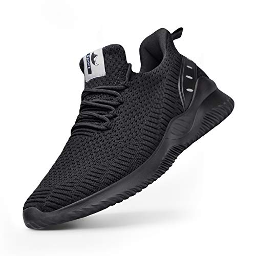 Athletic Walking Shoes for Men- Slip On Sneakers Non Slip Lightweight Breathable Mesh for Indoor Outdoor Gym Travel Work Casual Tennis Running Shoes All Black 10